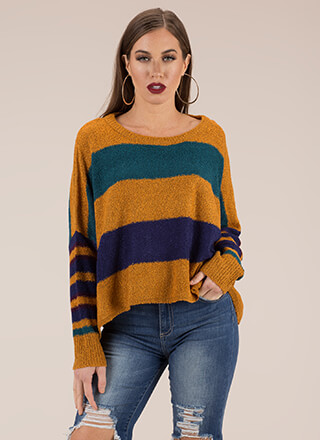 Warm And Fuzzy Oversized Striped Sweater
