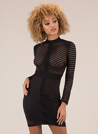 Like A Shadow Mesh Striped Minidress