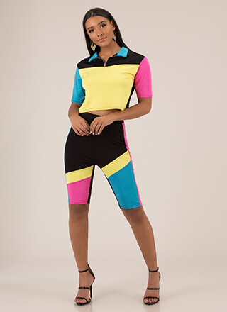 Colorblock Party Top And Shorts Set