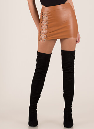 Hoop-La Ringed Cut-Out Miniskirt