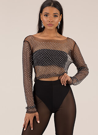 Sheer And Sparkly Jeweled Mesh Crop Top