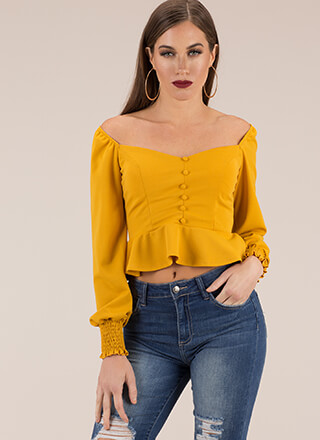 Peplum Pusher Off-Shoulder Crop Top