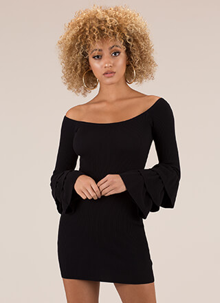 Truth Or Flare Bell-Sleeve Minidress