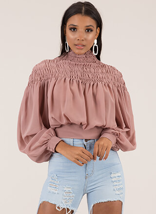 Poetry In Motion Smocked Cropped Blouse