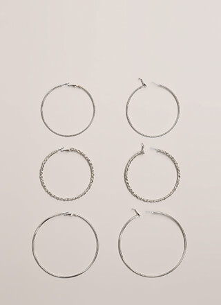 Three Of A Kind Hoop Earring Set