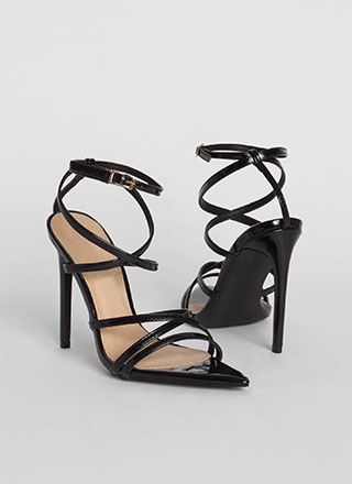 All Straps Pointy Faux Patent Heels