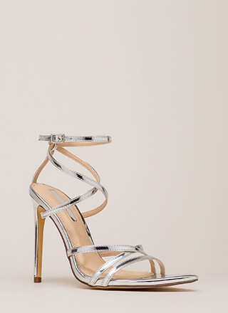 All Straps Pointy Metallic Heels