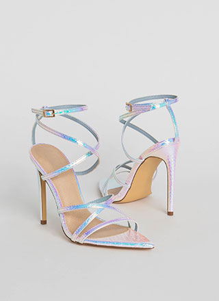 All Straps Pointy Holographic Heels