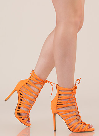 Strappy Feet Caged Lace-Up Heels
