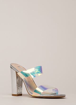 Speak Clearly Holographic Mule Heels