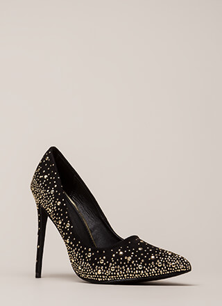 Head-To-Toe Sparkle Pointy Studded Pumps