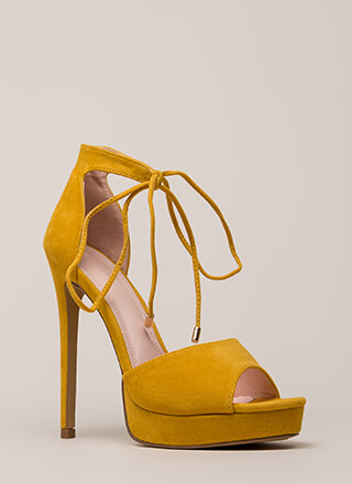 Tied You Over Peep-Toe Platforms