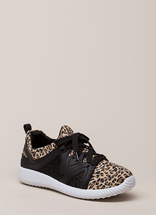 Run The World Knit Leopard Sneakers