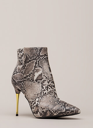 Stick Shift Pointy Faux Snake Booties