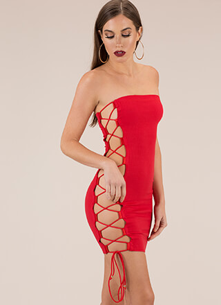 Side Chick Strapless Lace-Up Minidress