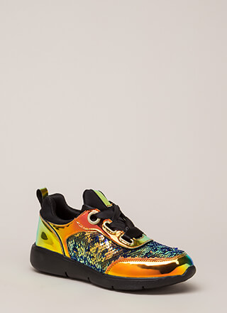 Track Star Sequined Holographic Sneakers
