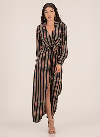 Work Flow Striped Maxi Shirt Dress