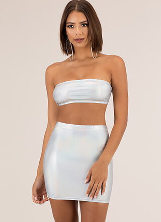 Night Out Iridescent Top And Skirt Set