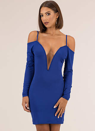 Not Yours Plunging Cold-Shoulder Dress