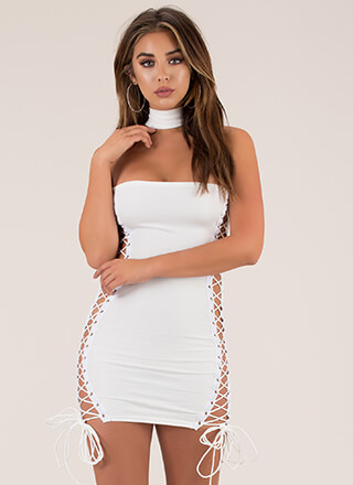 Showstopper Lace-Up Choker Minidress