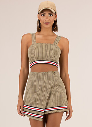 Sports Match Striped Plaid 2-Piece Dress