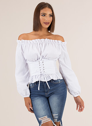 Romance Novel Off-Shoulder Corset Top