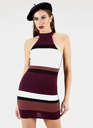 This Is Art Striped Colorblock Minidress