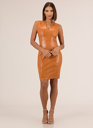 Tip The Scales Faux Leather Midi Dress