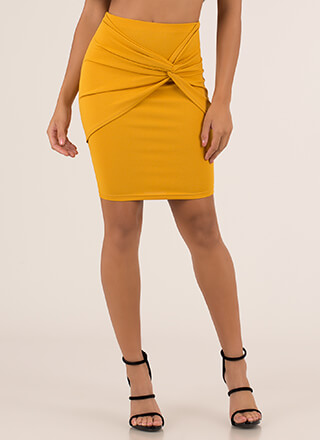 With A Twist Knot-Front Pencil Skirt