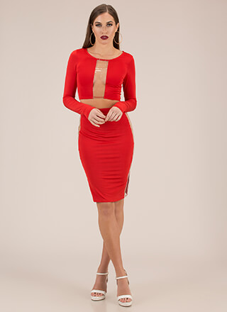 Clearly Stunning Top And Skirt Set