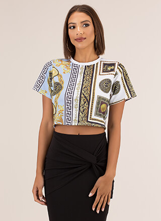 Decked Out Baroque Print Crop Top