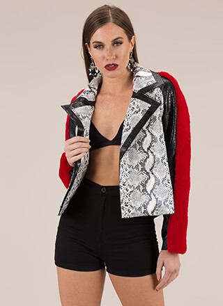 Ride It Out Furry Faux Snake Moto Jacket