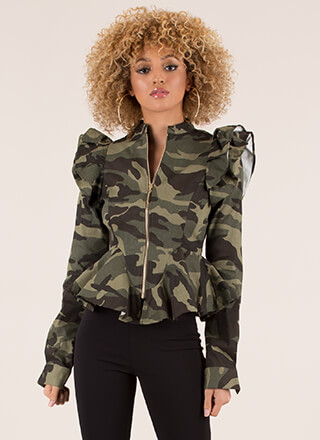 Camo Couture Ruffled Peplum Jacket