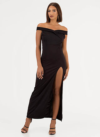 Show Some Leg Off-Shoulder Slit Gown