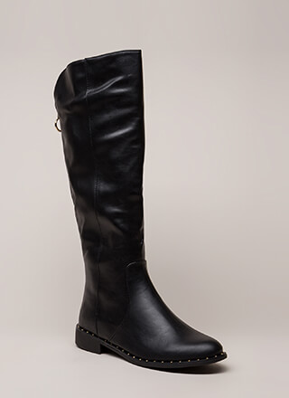 Lasso Studded Faux Leather Riding Boots