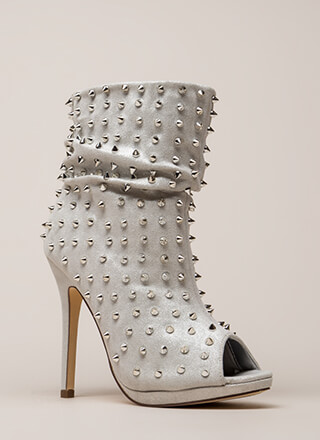 Spike A Pose Metallic Studded Booties