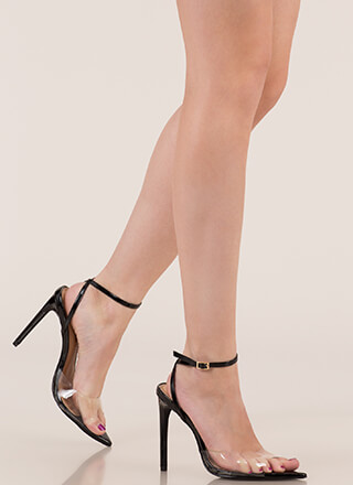 Clear Point Faux Patent Peep-Toe Heels
