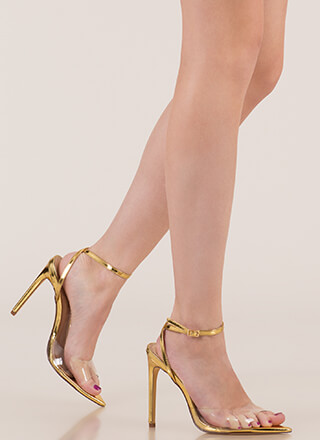 Clear Point Metallic Peep-Toe Heels