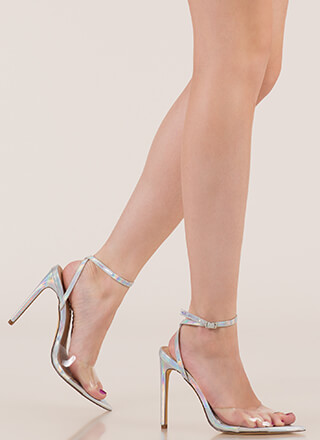 Clear Point Holographic Peep-Toe Heels