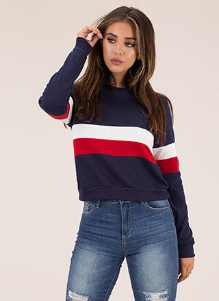 Sport This Striped Colorblock Sweatshirt