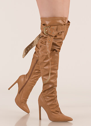 3cf8cc70255 Get The Strap Slouchy Thigh-High Boots