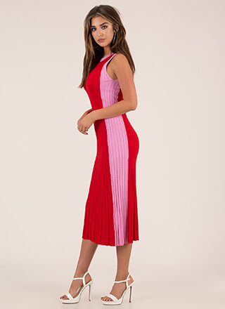Yes Pleats Ribbed Colorblock Dress