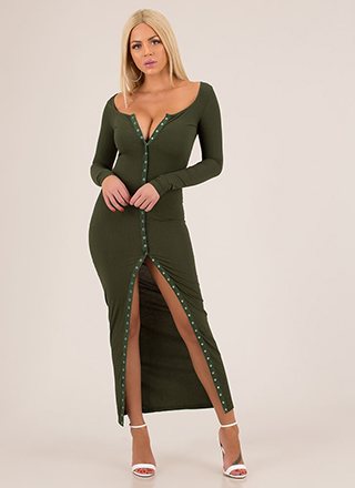 In The Mood Snap Button Maxi Dress