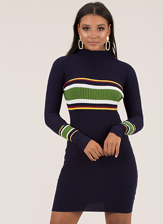 Getting Cozy Striped Sweater Dress