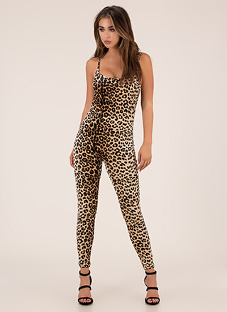 Wild Night Velvet Leopard Jumpsuit