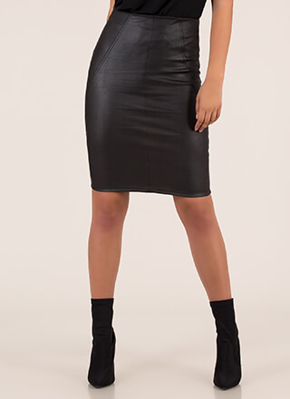 Cool Vibes Faux Leather Pencil Skirt