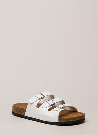 One Two Three Buckled Slide Sandals