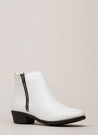 Cool It Faux Leather Zipper Booties