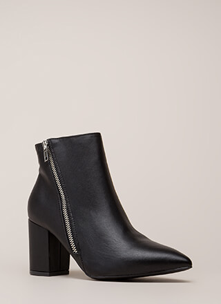 Zip Line Chunky Faux Leather Booties