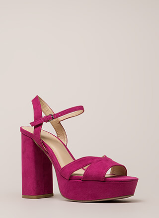 Tall Drink Chunky Faux Suede Platforms